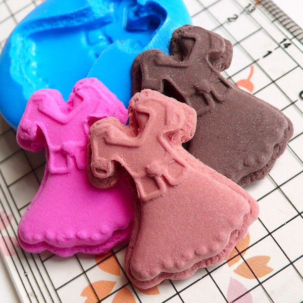 Silicone Flexible Mold Lady Dress Sugar Cookie Biscuit (26mm) Miniature Food, Sweets, Jewelry, Charms (Clay, Fimo, Gum Paste, Fondant) MD169