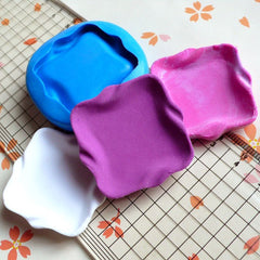 Flexible Silicone Mold Square Plate Mold 35mm Dollhouse Miniature Kawaii Deco Fimo Polymer Clay Jewelry Cabochon Resin Wax Push Mold MD730