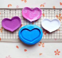 Miniature Mold Heart Plate Mold 35mm Silicone Flexible Mold Polymer Clay Fimo Dollhouse Jewelry Kawaii Cabochon Charms Resin Push Mold MD731