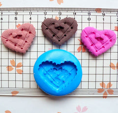 Silicone Flexible Mold - Kawaii Bowtie Heart Cookie / Biscuit (24mm) Miniature Food Sweets Jewelry Charms (Clay Fimo Resins Gum Paste) MD822