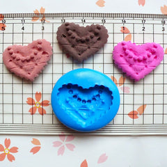 Cabochon Mold Lady Heart Cookie Biscuit 25mm Flexible Silicone Mold Miniature Sweets Deco Fimo Polymer Clay Jewelry Charm Kawaii Resin MD818