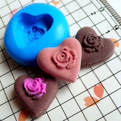 Kawaii Cabochon Mold Heart Chocolate Rose 15mm Flexible Silicone Mold Miniature Sweets Deco Fimo Polymer Clay Charms Resin Wax Fondant MD364