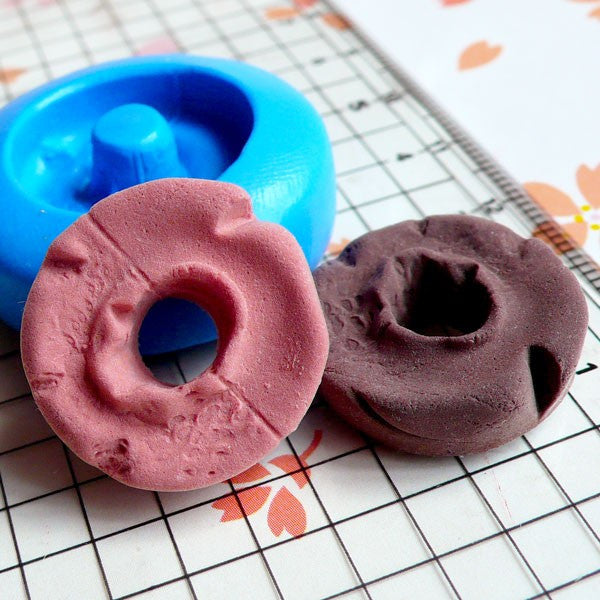 Flexible Silicone Mold Old Fashion Donut Mold Doughnut 21mm Miniature Sweets Deco Fimo Jewelry Charms Kawaii Cabochon Resin Wax Mold MD244