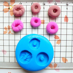 Donut / Doughnut (3 pcs) (9 to 10mm) Silicone Mold Flexible Mold - Miniature Food, Cupcake, Jewelry, Charms (Resin Clay Fimo Fondant) MD247
