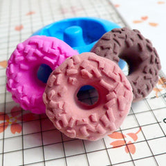 Donut / Doughnut with Sprinkles (21mm) Silicone Flexible Push Mold - Miniature Food, Sweets, Jewelry, Charms (Clay Fimo Epoxy Fondant) MD243