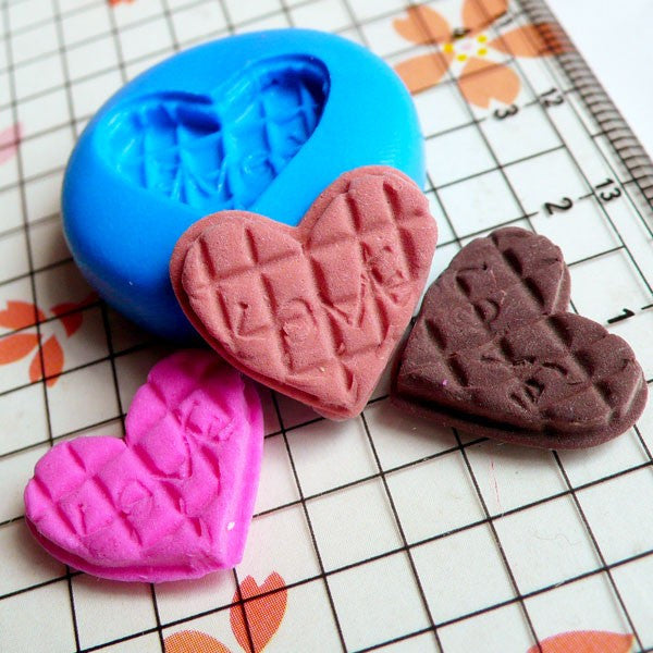 Decoden Mold Heart Love Cookie Chocolate 17mm Flexible Silicone Mold Miniature Sweets Deco Fimo Polymer Clay Charms Kawaii Cabochon MD366