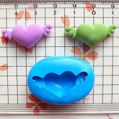 Puffy Heart with Wing (26mm) Silicone Flexible Push Mold - Jewelry, Charms, Cupcake (Clay, Fimo, Resin, Epoxy, Wax, GumPaste, Fondant) MD518