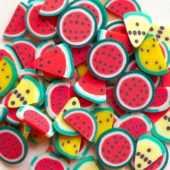 Polymer Clay Fimo Cane Watermelon Slices Mix 6 designs Miniature Sweets Decoden Kawaii Fruit t  Nail Art Scrapbooking (60pcs) CMX030