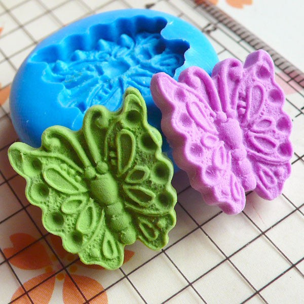 Butterfly (17mm) Silicone Flexible Push Mold - Jewelry, Charms, Cupcake (Clay Fimo Wax Soap Casting Resin Epoxy Fondant Gum Paste) MD406