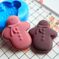 Snowman Mold Gingerbread Man Mold Cookie Biscuit 24mm Flexible Silicone Mold Miniature Sweets Scrapbooking Fondant Gumpaste Fimo Clay MD826