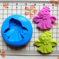 Halloween Mold Ghost w/ Hat (25mm) Flexible Silicone Mold Fimo Polymer Clay Jewelry Charms Cabochon Resin Wax Gum Paste Fondant Mold MD790