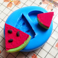 Watermelon Slice 2 pcs 11,18mm Flexible Silicone Mold Miniature Mold Decoden Kawaii Fimo Mold Polymer Clay Fruit Food Jewelry Earrings MD389