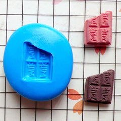 Flexible Mold Silicone Mold - Tiny Bitten 'Milk' Chocolate Bar (11mm) Miniature Food, Sweets, Jewelry Charms (Clay Fimo Epoxy Fondant) MD353