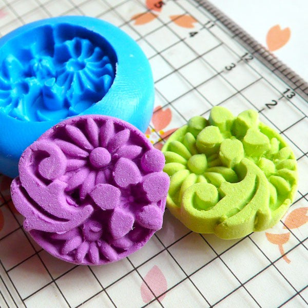 Chrysanthemum Round Cameo Mold Flower Mold 21mm Flexible Silicone Mold Flower Jewelry Mold Fimo Clay Mold Flower Cabochon Resin Mold MD828