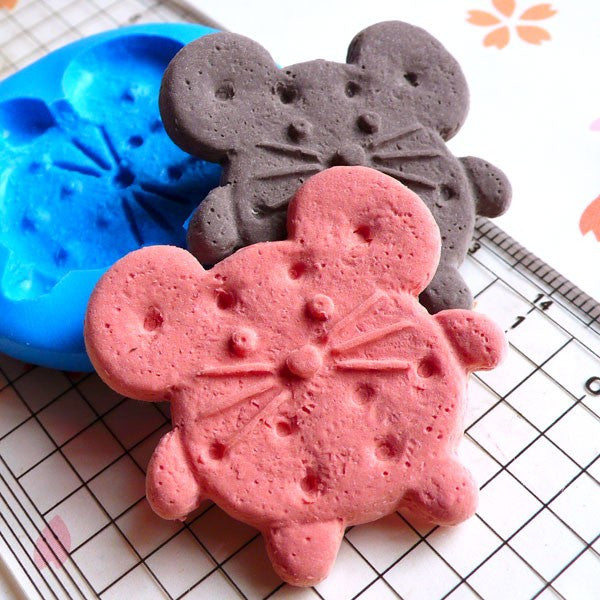 Silicone Mold Flexible Mold Mouse Cookie Biscuit Mold 34mm Decoden Kawaii Sweets Fimo Polymer Clay Food Jewelry Cabochon Push Mold MD651