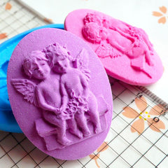 Victorian Oval Angel Boy and Girl Cameo (40mm) Silicone Flexible Push Mold Cake Deco Cupcake Fondant Gumpaste Butter Mold Jewelry MD646