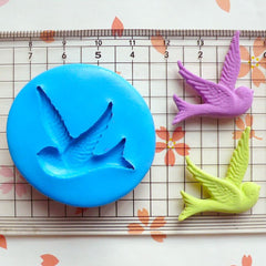 Sparrow (34mm) Silicone Flexible Push Mold - Jewelry, Charms, Cupcake (Clay, Fimo, Casting Resin, Epoxy, Wax, Gum Paste, Fondant) MD465
