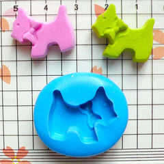 Dog with Bow (21mm) Silicone Flexible Push Mold - Miniature Food, Sweets, Jewelry, Charms (Clay, Fimo, Resins, Fondant) MD436