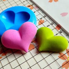 Puffy Heart (25mm) Silicone Flexible Push Mold - Jewelry, Charms, Cupcake (Clay Fimo Casting Resins Epoxy Wax Soap Gum Paste Fondant) MD512