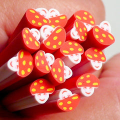 Polymer Clay Cane - Smiling Red Mushroom - for Miniature Food / Dessert / Cake / Ice Cream Sundae Decoration and Nail Art CFD09