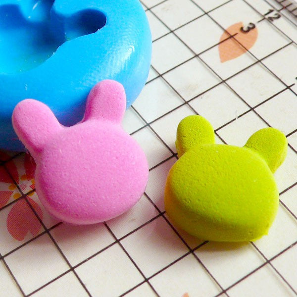Bunny / Rabbit Head (13mm) Silicone Flexible Push Mold - Jewelry, Charms, Cupcake (Clay Fimo Casting Resins Epoxy Wax Soap Fondant) MD440
