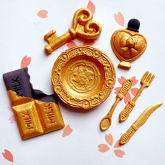Special GOLD Color Resin Air Dry Clay from Taiwan (30g) Metal Imitation Miniature Dollhouse Cutlery Kitchenware Goldware Fake Gold Faux Gold