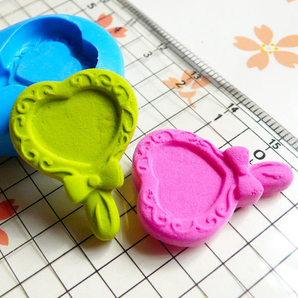 Victorian Heart Mirror (25mm) Silicone Flexible Push Mold - Jewelry, Charms, Cupcake (Clay, Fimo, Epoxy, Gum Paste, Fondant, Wax) MD537