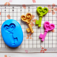 Heart Key (24mm) Silicone Flexible Push Mold - Miniature Food, Sweets, Cupcake, Jewelry Charms (Clay Fimo Epoxy Gum Paste Fondant Wax) MD729
