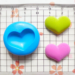 Heart (21mm) Silicone Flexible Push Mold - Miniature Food, Sweets, Cupcake, Jewelry, Charms (Resin Clay Fimo Wax Gum Paste Fondant) MD509
