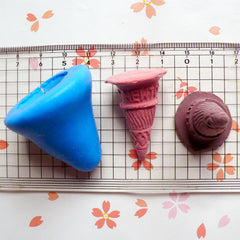 3D Flexible Mold Silicone Mold - Ice Cream Sugar Cone (36mm) Miniature Food, Sweets, Jewelry, Charms (Clay, Fimo, Resins, Fondant) MD285