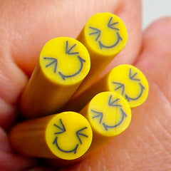 Polymer Clay Cane - Yellow Smiling / Smiley Face - for Miniature Food / Dessert / Cake / Ice Cream Sundae Decoration and Nail Art CE029
