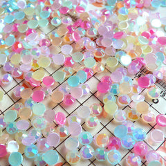 Assorted 4mm Round AB Bubblegum Faceted Acrylic Rhinestones Cabochons Mix (around 550 to 600 pcs) (9 candy colors) RHM002