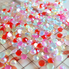 Assorted 3mm Round AB Bubblegum Faceted Rhinestones Cabochons Mix (around 550 to 600 pcs) (9 candy colors) RHM001