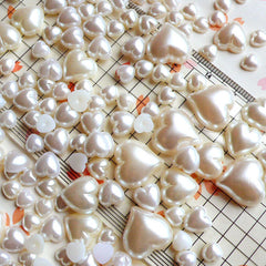 Cream White HEART PEARL Cabochons Mix (around 200pcs / 30gram) (5mm to 15mm) PEMC12