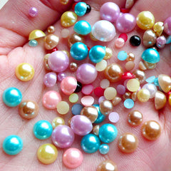 Faux Pearl Cabochons (Colorful / Round / Half) Mix / Assorted (around 100 pcs / 3.5 gram) (3mm to 8mm) PEMC13
