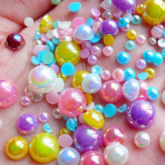 AB Faux Pearl Cabochons (Colorful / Round / Half) Mix / Assorted (Around 100 pcs / 3.5 gram) (3mm to 8mm) PEMC14