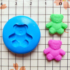 Bear Mold 15mm Flexible Silicone Mold Animal Jewelry Earrings Mold Fimo Polymer Clay Mold Scrapbooking Push Mold Miniature Cookie Mold MD449