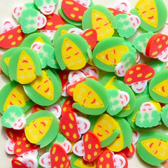 Polymer Clay Cane Vegetable Mix  Mushroom Sweet Corn Slices Miniature Food Decoration Nail Art (75 pcs) CMX029