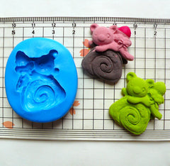 Bear Mold on Swiss Roll 27mm Silicone Flexible Mold Cupcake Topper Mold Kawaii Jewelry Charms Polymer Clay Resin Wax Gumpaste Mold MD664