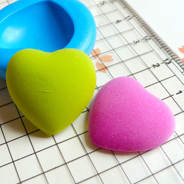 Puffy Heart (20mm) Silicone Flexible Push Mold - Miniature Food, Sweets, Cupcake, Jewelry, Charms (Resin Clay Fimo Gum Paste Fondant) MD511