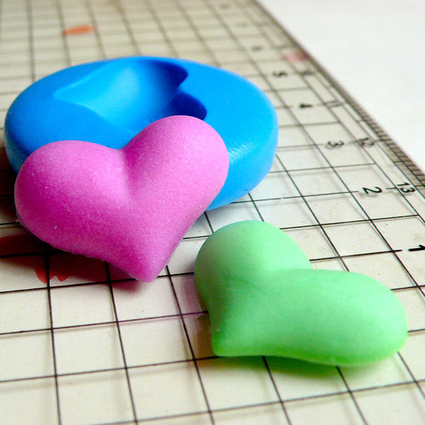 Puffy Heart (19mm) Silicone Flexible Push Mold - Miniature Food, Sweets, Cupcake, Jewelry, Charms (Resin Clay Fimo Gum Paste Fondant) MD508