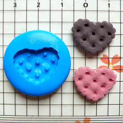 Heart Shaped Cookie / Biscuit (19mm) Silicone Flexible Push Mold - Miniature Food, Jewelry, Charms (Resin Paper Clay Fimo Gum Paste) MD148