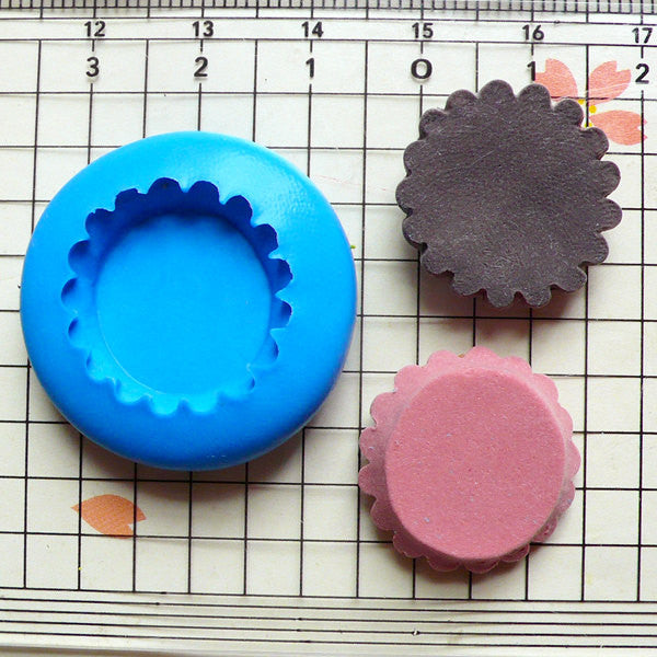 Flexible Mold Silicone Mold - Fruit Tart Bottom (20mm) - Miniature Food, Sweets, Jewelry, Charms (Clay, Fimo, Resins, Gum Paste) MD113