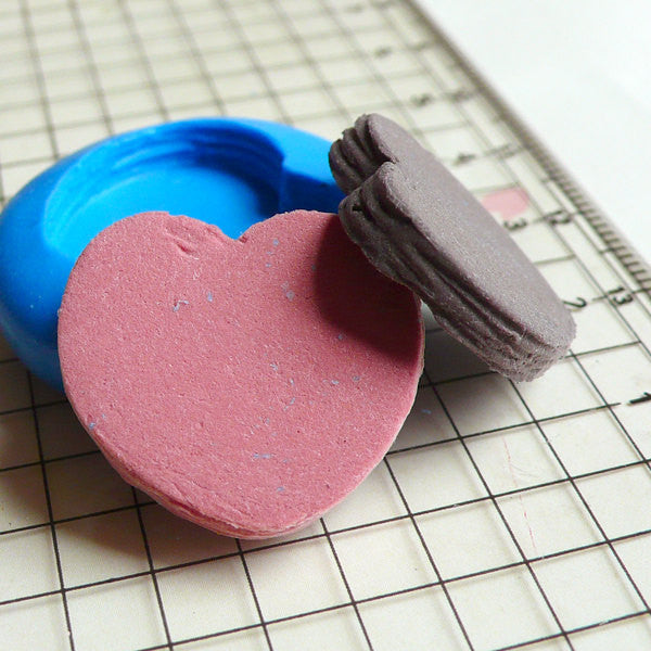 Heart Pastry (21mm) Silicone Flexible Push Mold - Miniature Food, Sweets, Jewelry Charms (Clay, Fimo, Resins, Wax, Gum Paste, Fondant) MD120