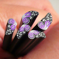 Polymer Clay Cane - Black and Purple Butterfly (Half) - for Miniature Food / Dessert / Cake / Ice Cream Sundae Decoration and Nail Art CBTH6