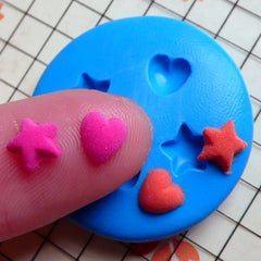 4 in 1 Tiny Heart and Star (6mm) Silicone Flexible Push Mold - Jewelry, Charms, Cupcake (Clay Fimo Resin Wax Epoxy Gum Paste Fondant) MD497