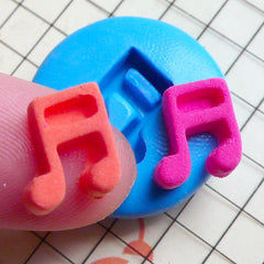 Music Note (10mm) Silicone Flexible Push Mold Jewelry Charms Cupcake (Clay Fimo Sculpey Premo Resin Epoxy Wax Gum Paste Fondant) MD814