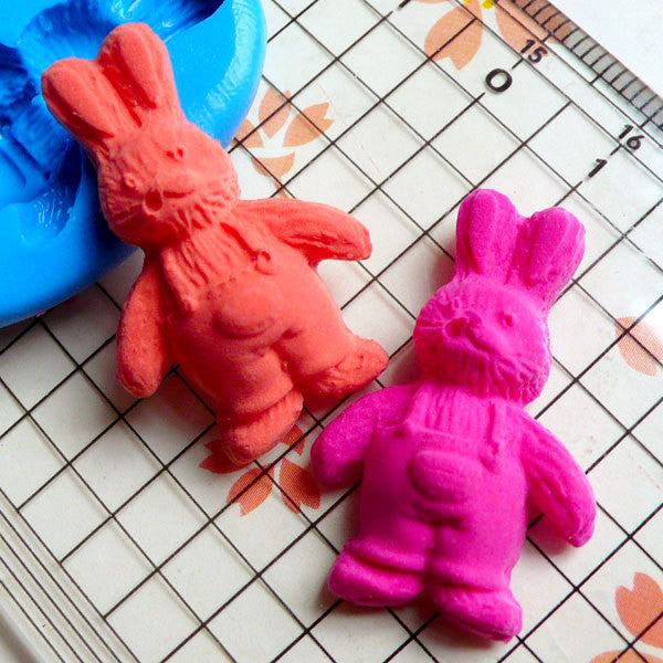 Bunny / Rabbit in Overall (30mm) Silicone Flexible Push Mold - Jewelry, Charms, Cupcake (Clay, Fimo, Resin, Wax, Gum Paste, Fondant) MD770