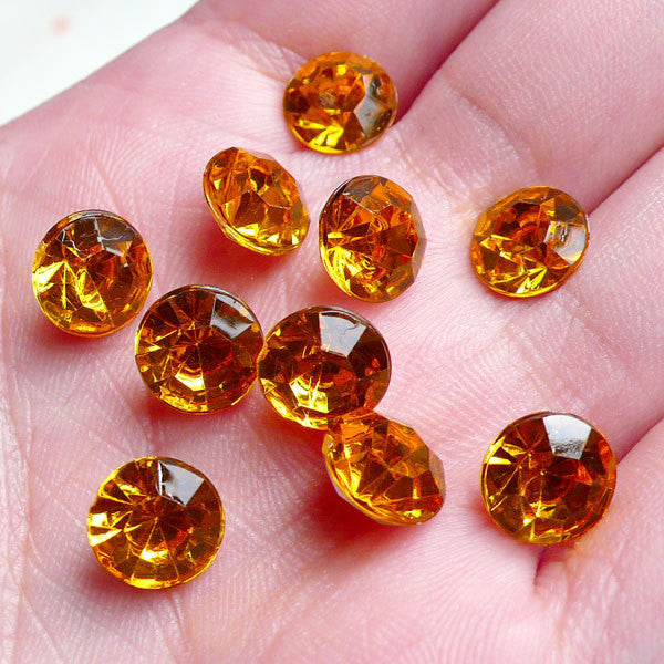 10 pcs of ORANGE Conical End Rhinestones Faceted Tip End Cabochons (8mm) RHE019