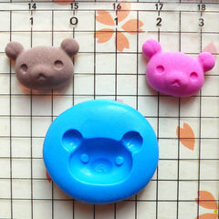 Bear Head (18mm) Silicone Flexible Mold Jewelry Charms Cabochon Mini Cupcake Topper Mold Fimo Polymer Clay Resin Gumpaste Fondant Mold MD807